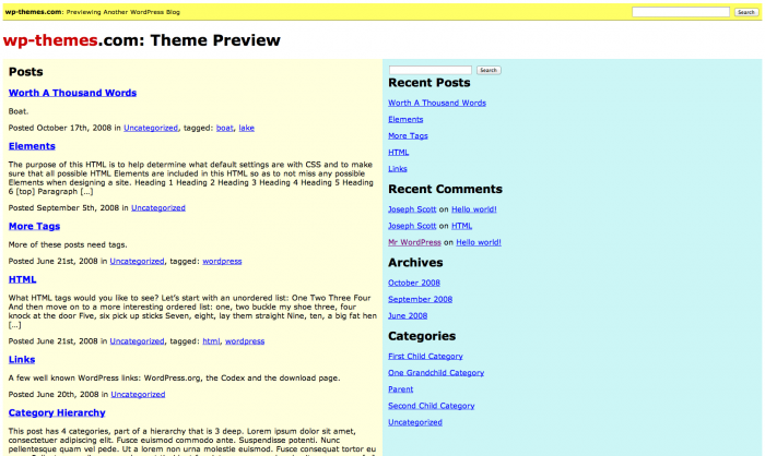 Bad WordPress Theme Example