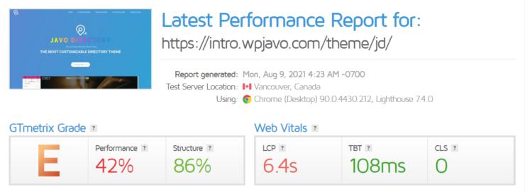 javo-gtmetrix-speed-performance-report