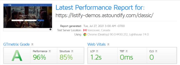 listify-gtmetrix-report